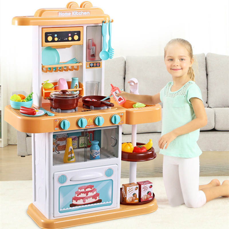 Child Funny Classic Pretend Play Kitchen Toys Imitate Chef Light Kitchen Sets COOK FUN Game Girl Gift Girls Toys Miniatur