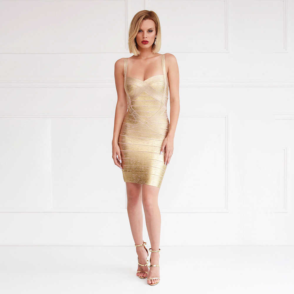8047b4d0a9ae3 Detail Feedback Questions about Club Party Foil Gold Bandage Dress ...