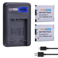 2 Cái 3.7 V 1200 mAh NB-11L NB 11L NB11L Camera Battery + LCD USB sạc đối với Canon A2600 A3500 A4000IS IXUS 125 132 140 240 245