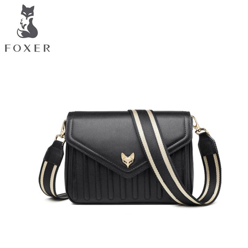 FOXER Messenger bag female 2019 new fashion wide shoulder strap simple wild single shoulder bag temperament small square bagFOXER Messenger bag female 2019 new fashion wide shoulder strap simple wild single shoulder bag temperament small square bag