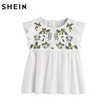 Шеин Вышивка блузка Для женщин Повседневное Блузки для малышек белый цветок вышитые без рукавов на пуговицах замочную скважину Рябить Сорочка Топ