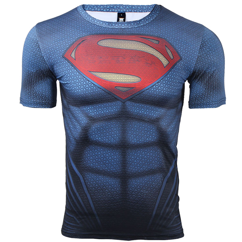 Superman 3d printed t shirt for fitness or bodybuilding for Gym printed t shirts