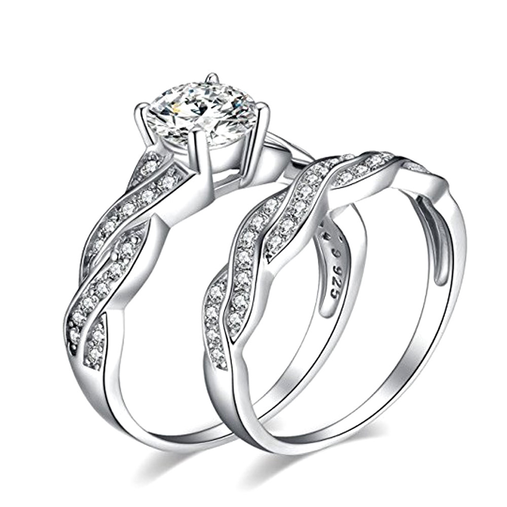 Юбилей Promise обручальное Обручение кольцо Свадебные Наборы для ухода за кожей любовь кольцо покрытием двойной рукав кольцо J.10