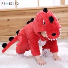 Czerwony dinozaur kostium zwierzęcy dziecko dziewczynka chłopiec Kigurumis śmieszne słodkie dziecko Onesie ubrania z nadrukami ciepłe fantazyjne dziecko karnawał Outfi