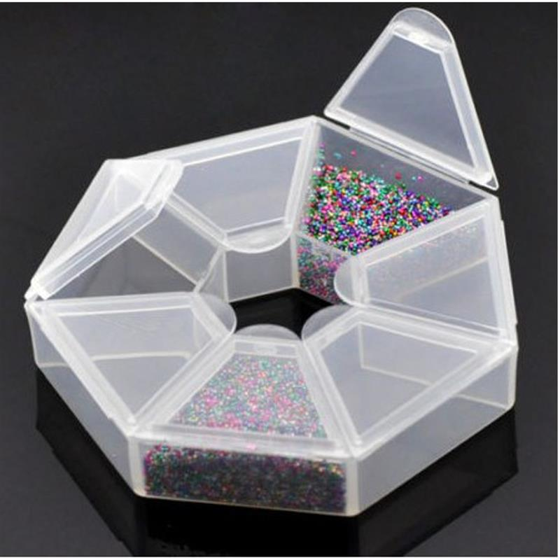 7 Lattices Plastic Nail Art Storage Box Case Acrylic Organizer Container Nail Beads Jewelry Decoration Display Manicure Tool