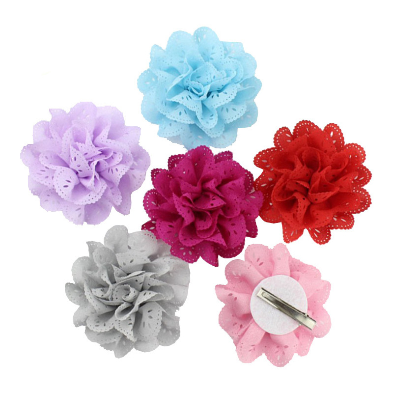 16 Color Tiny Hollowed out flowers Hair Clips Cute Baby Little Girl Hairpins Princess   Headwear   Hair Accessories Pink