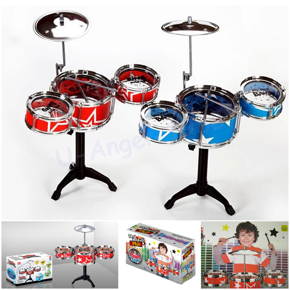 Christmas Gift Idea Children Toys Drum Set Boys Girls Play Music Develop Intelligence blue and red for choose + Free shipping