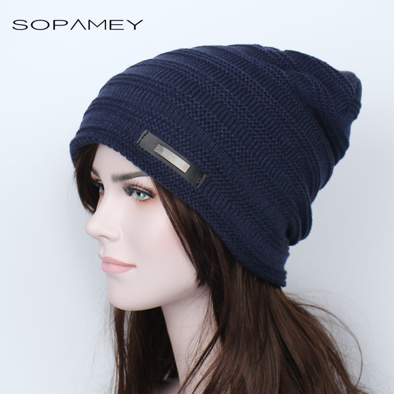Winter Hat Unisex Beanie Men Women Hat Fashion Casual Solid Thick plus Cashmere Warm Cap Stripe Knitted Hip hop Hat Male Female novelty women men winter warm black full face cover three holes mask beanie hat cap fashion accessory unisex free shipping