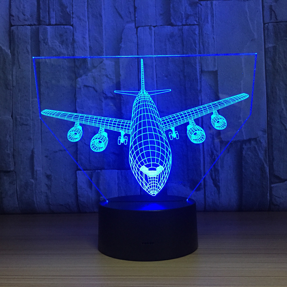 Remote Control Boeing Air Plane 3D Lamp LED Table Lamp Optical Illusion Aircraf Night Light 7 Colors Changing USB Lamp moon shape remote control changing colors led lamp