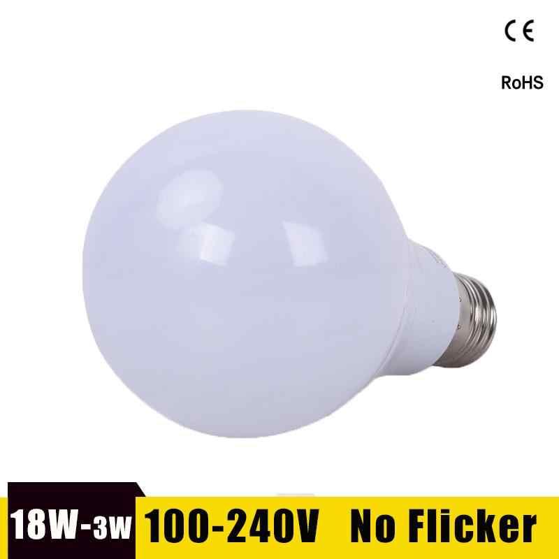 Светодиодный светильник E27, светодиодный светильник, 18 Вт, 15 Вт, 12 Вт, 9 Вт, 7 Вт, 5 Вт, 3 Вт, светодиодный светильник Bombillas, 220 В, 110 В, для внутреннего освещения, холодное/теплое белое светодиодное освещение, лампа