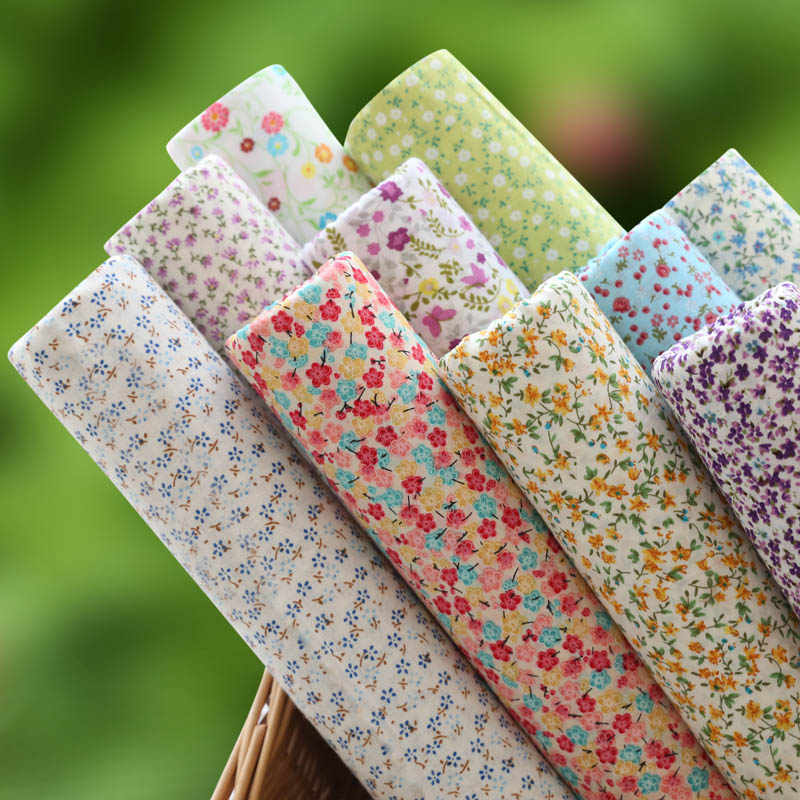 50cm width printing fresh floral Twill Cotton Fabric DIY Children's Wear Cloth Make Bedding Quilt Decoration Home 180g/m