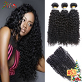 8A Mongolian Kinky Curly Hair With Closure 3Bundles Wet And Wavy Mongolian Virgin Hair Curly Weave Human Hair With Lace Closure