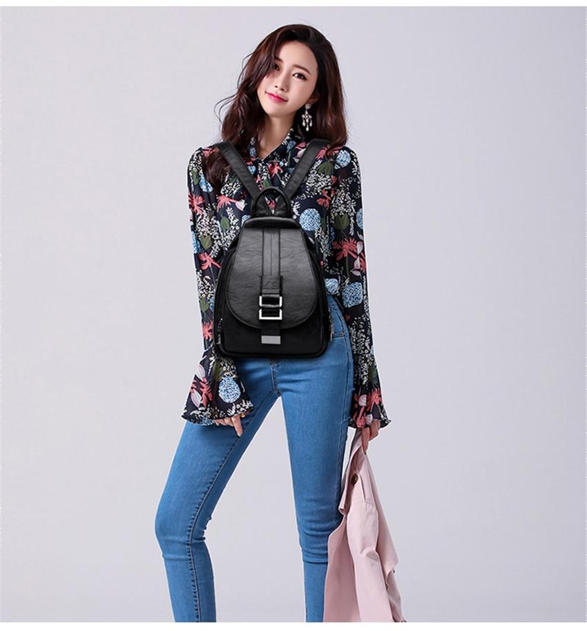 HTB1HGidXIvrK1Rjy0Feq6ATmVXaP New 2018 Women Leather Backpacks Vintage Shoulder Bag Winter Female Backpack Ladies Travel Backpack Mochila School Bags For Girl
