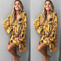 DERUILADY Sexy Deep V Long Sleeve Dress Fashion Hollow Out Printing Women Clothing Bohemian Spring Summer