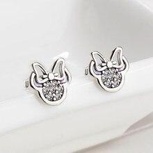 c77ad1c4df08 HOMOD 2019 presenta Color plata Mickey pendientes espumosos Minnie Pandora  pendientes para las mujeres joyería de moda Dropshipp.
