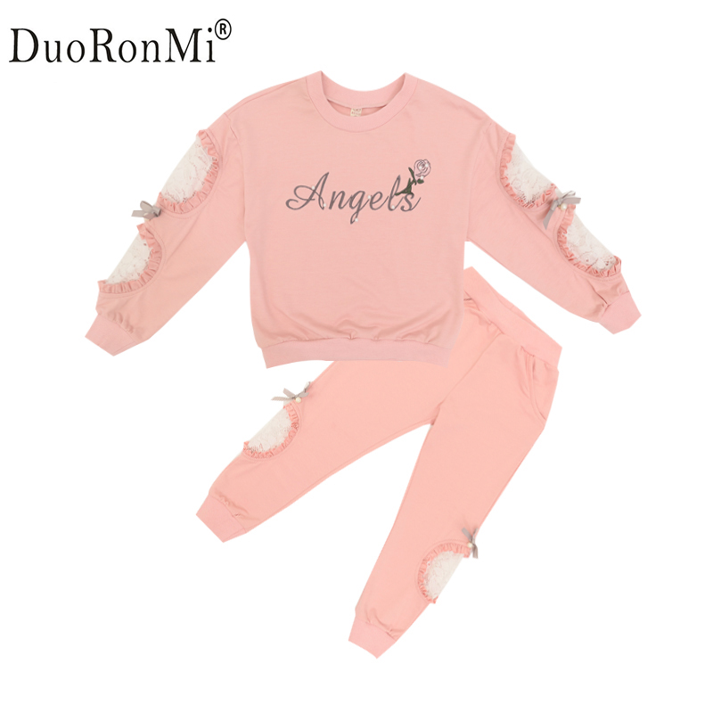 Girls Clothing Sets 2017 Spring Autumn Children Tracksuit Lace Hole Long Sleeve Sweatshirt + Pants Kids 2 pcs Girls Sport Suit autumn winter girls children sets clothing long sleeve o neck pullover cartoon dog sweater short pant suit sets for cute girls
