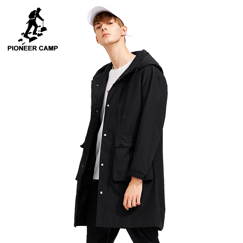 Pioneer camp fashion thin long jacket men korean style brand clothing hooded spring male long hooded coat AFY803119 medium long style korean style hooded coat