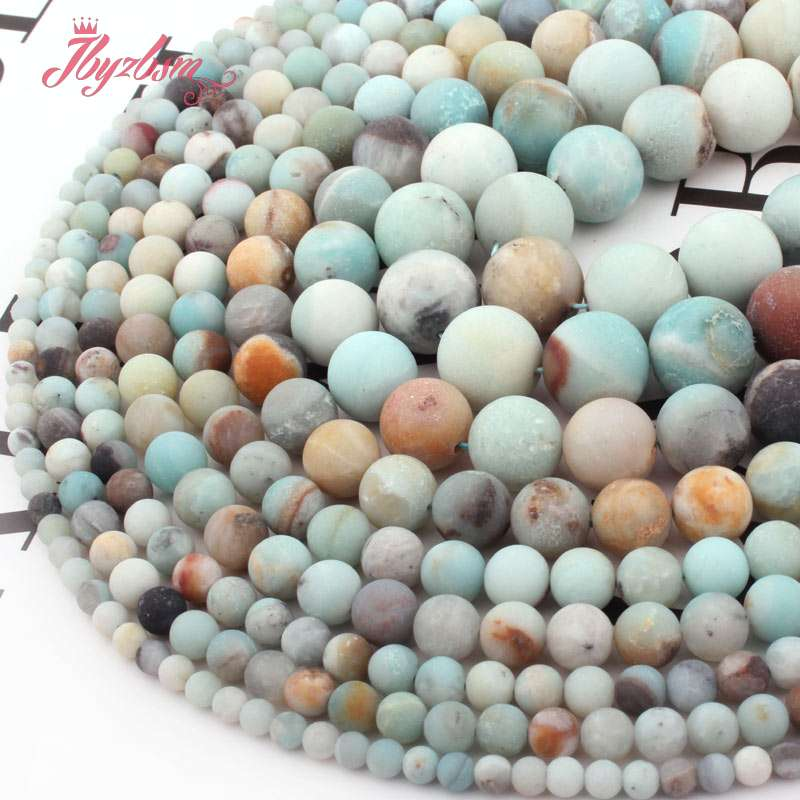 4,6, 8,10mm Multicolor Frost Putaran Amazonite Bead Batu Alam Beads - Perhiasan fashion - Foto 4