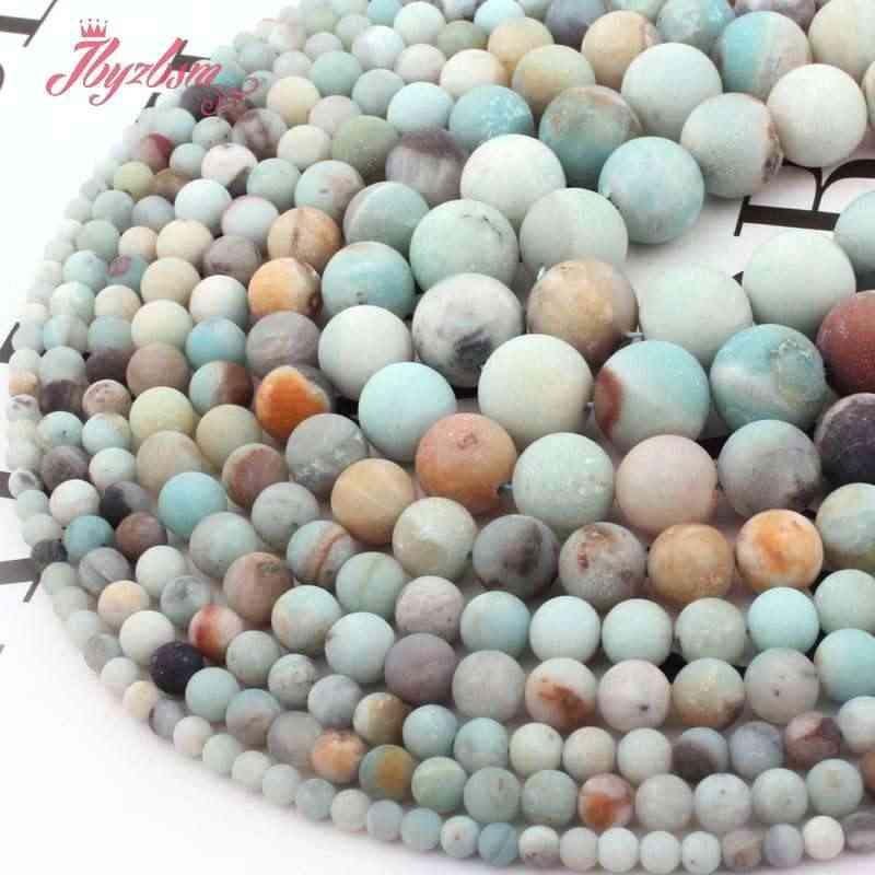 """4,6, 8,10mm Ronde Amazoniet Multicolor Vorst Kralen Losse Natuursteen Kralen Voor DIY Ketting Armbanden Sieraden Maken Strand 15"""""""