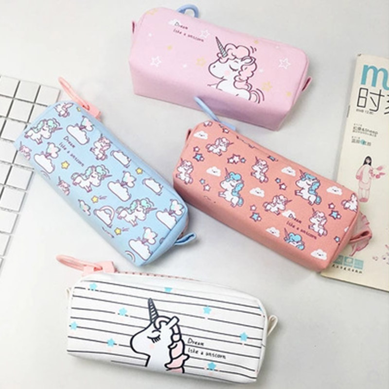 1Pc Kawaii Pencil Case Unicorn Canvas Big Zipper Student School Pencil Box Pencil Cases Pen Bag Pouch School Supplies Stationery in Pencil Bags from Office School Supplies