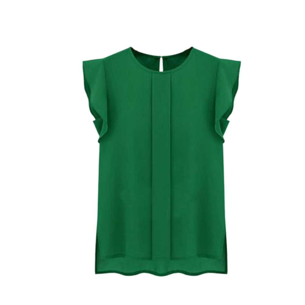 Mulheres soltas Camisa Chiffon Plissado de Manga Curta Gola Redonda Casual Blusa Tops 3 Cores Blusas