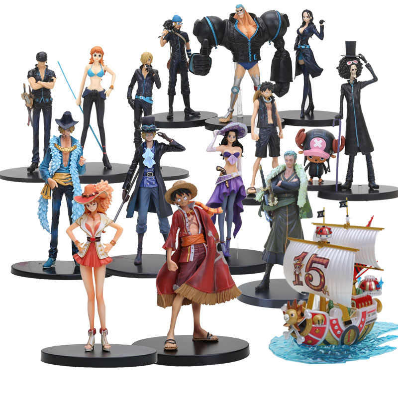 15-21cm Anime One Piece Figure Luffy Chopper Sanji Nami Zoro Pirate Ship Model Toy Film Gold Ver. PVC Figure For Kids Toy Gifts
