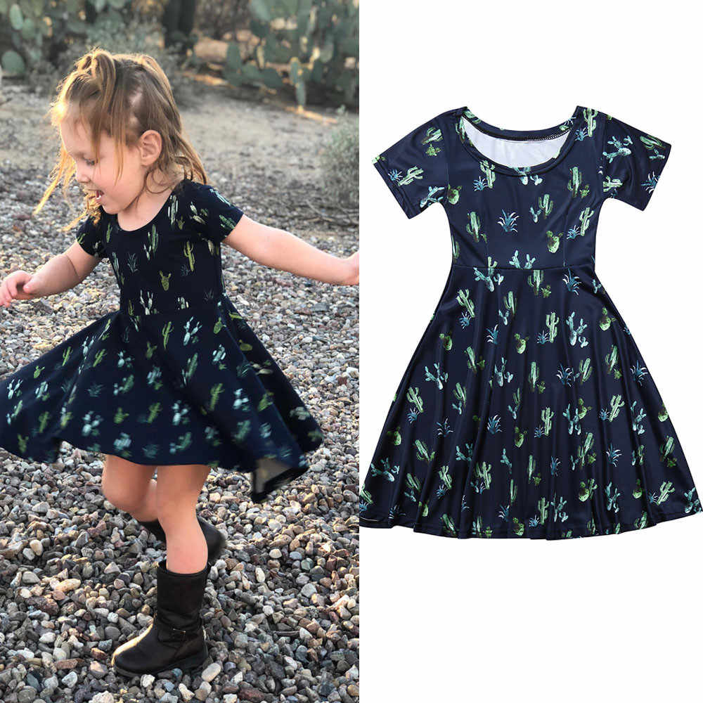 2fadd4ef3d3ac3 Baby Girls Dressing Floral Princess Mom and Me Short Sleeves Cactus Print  Children's Dress Family Matching