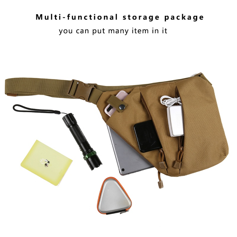 Compact Single Shoulder Bags For Men Waterproof Nylon Crossbody Bags Male Messenger Bag Right / Left Direction For Outdoor Sport
