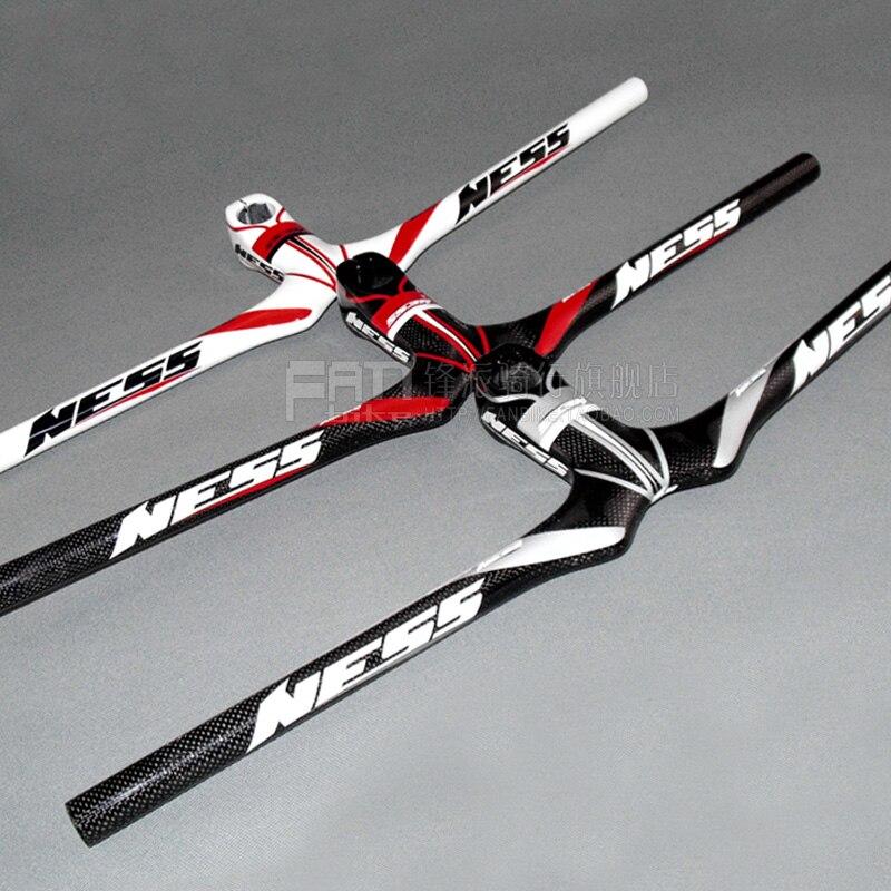 ФОТО NESS Full Carbon Fiber Bicycle MTB Flat Handlebar Mountain Bike Integrated Handlebar of Stem