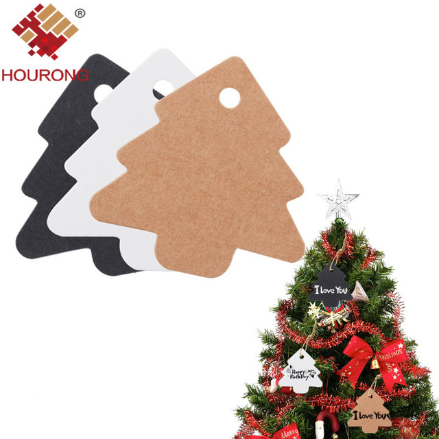 Hourong 50pcs Set Diy Kraft Christmas Tags Xmas Tree Pendant Xmas