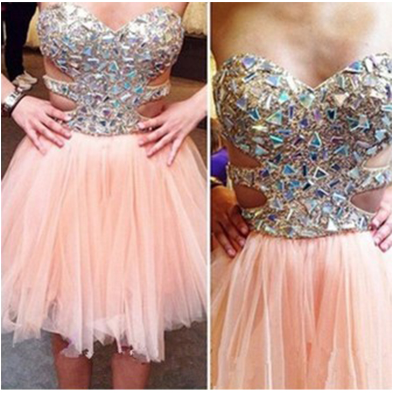 Shinning Rhinestones Short Coral Homecoming Dresses Beaded Tulle ...