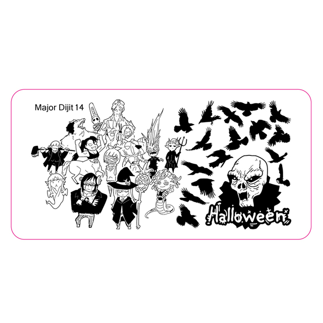 Halloween Nail Art Stamping Image Template Sorcerer Kingdom Crow ...