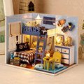 h005 New 1:12  Miniatura wooden dollhouse miniature bedroom include furniture,Light,dust cover free shipping Doll House