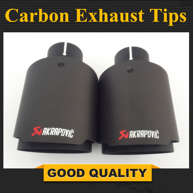 Matte + Black Stainless Steel Akrapovic exhaust car carbon Exhaust Tip car-styling exhaust pipe muffler tip for universal parts