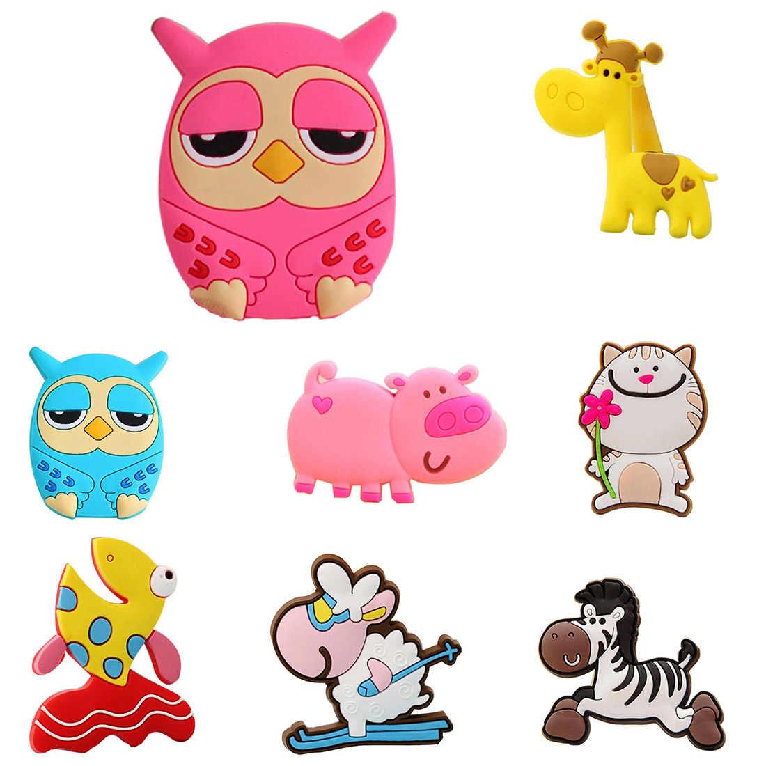Mini silicone Cartoon Animal Giraffe Owl Cat Pig Fish Sheep Fridge Magnets Kids Gift Home Decoration Whiteboard sticker