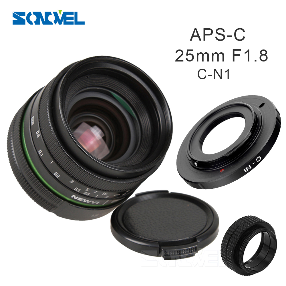25mm F1.8 APS-C Manual Camera Lens+C Mount Adapter+Macro Rings Kit for Nikon 1 AW1 S2 J4 V3 J3 V1 J1 J2 J5 mirrorless Camera vorke v1 mount