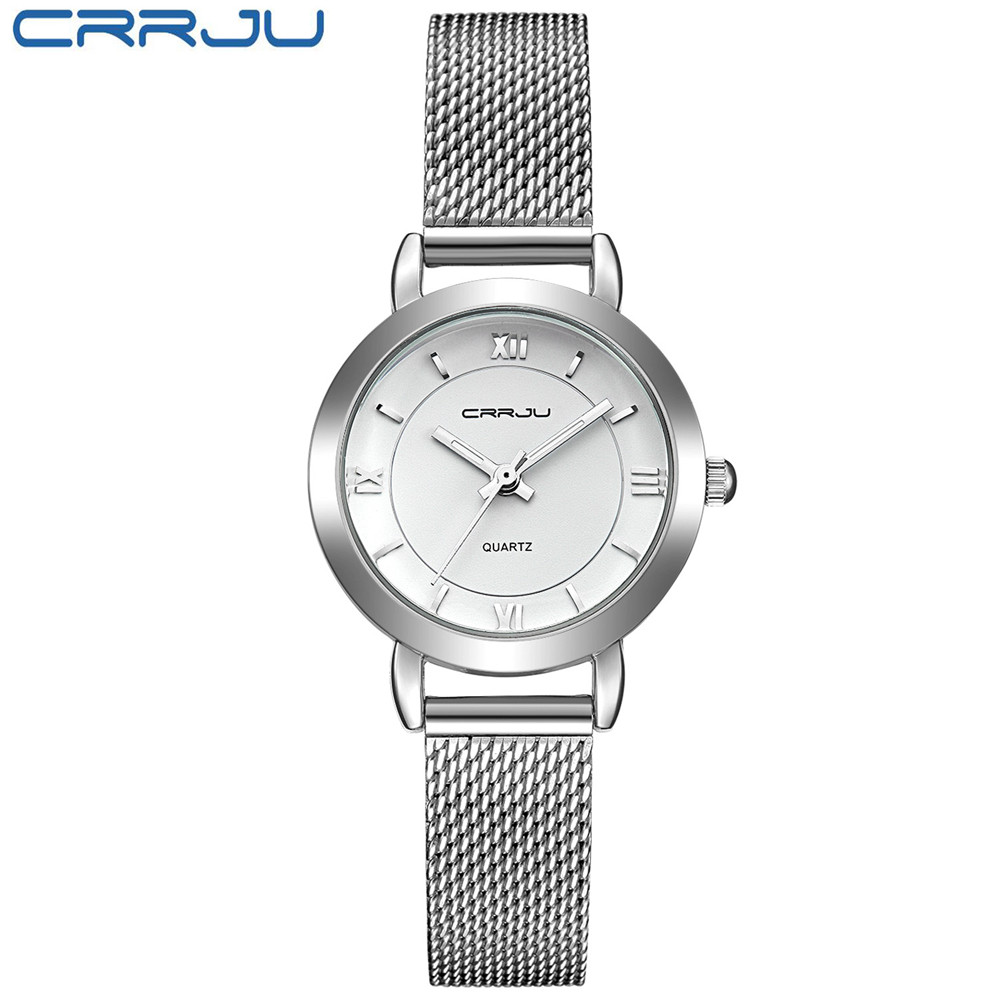 New CRRJU Small Round Dial Woven Mesh Band Quartz Women Watch Famous Luxury Brand Simple Casual Ladies Wrist Watches For Women quartz watch with small diamond dots indicate leather watch band hearts pattern dial for women