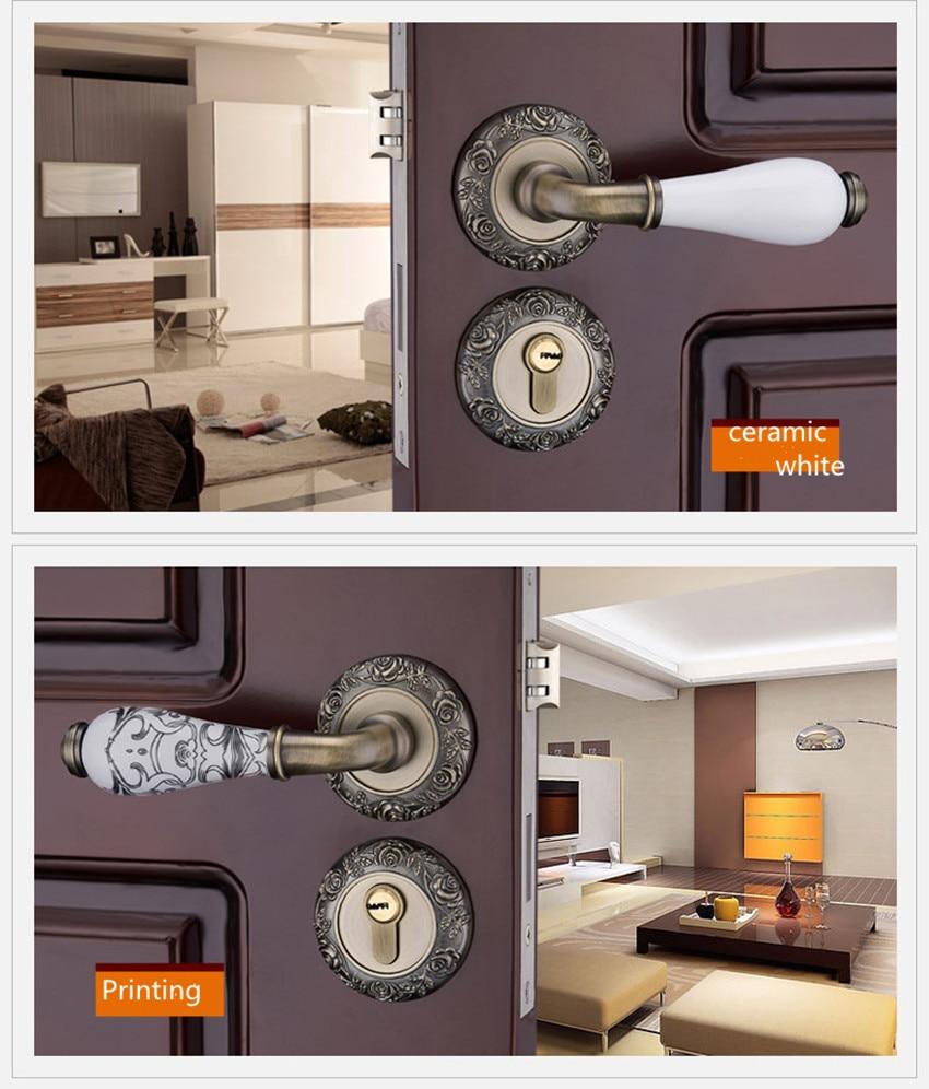 Retro style creative gold interior solid wooden door lock printing ceramic bedroom mechanical split mute door bronze lock цена