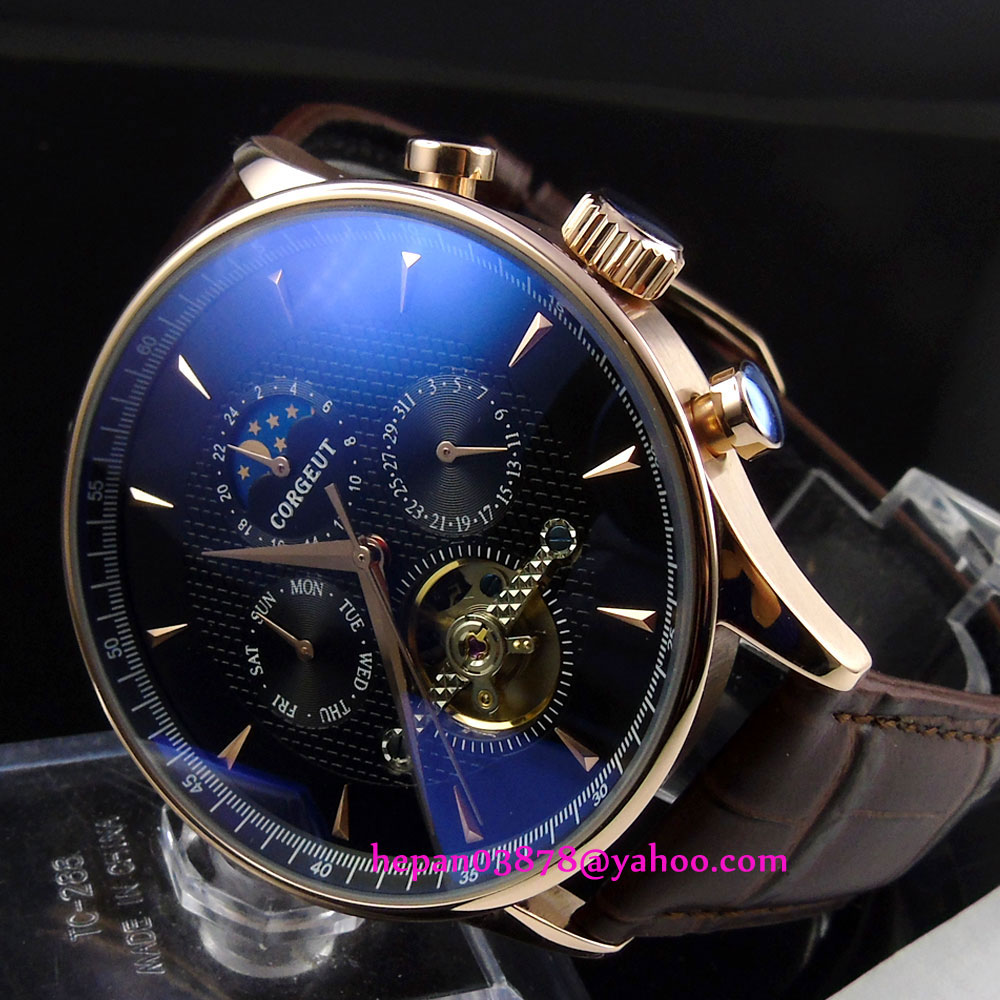 44mm Corgeut Black dial Domed glass Golden hands&case moon phase  Multifunction Automatic movement men's watch P204