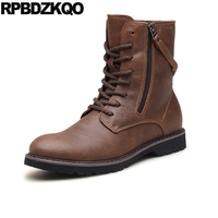 Men Shoes Flat Combat Fall Brown Military Ankle Super Warm Winter Boots Russian Style Full Grain Zipper Army Genuine Leather Fur