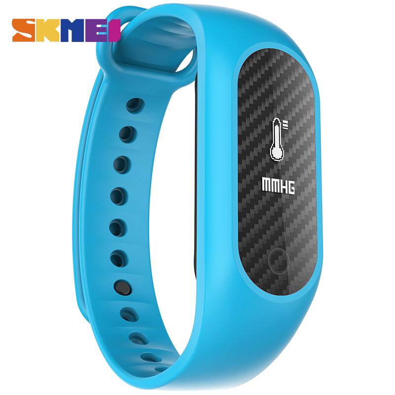 Prix pour Skmei smart poignet bande hommes en fiber de carbone en oxygène du sang bracelet coeur de la pression artérielle taux montres numérique montres b15s