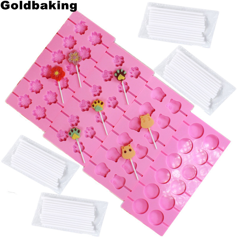 US $4 37 5% OFF|Aliexpress com : Buy Goldbaking Silicone Lollipop Mold  Baking Hard Candy Molds Pop Mould With Pop Stocks from Reliable Cake Molds
