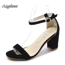 hot deal buy  2018 summer female high heels strap heels women sandals open toe chunky high heels party dress sandals mujer big size 42  s001