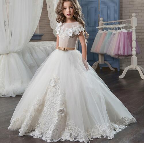 Ivory White Flower Girl Dress Sheer Neck Lace Up Bow Sash Ball Gown Pageant Dress First Communion Gown Custom Made
