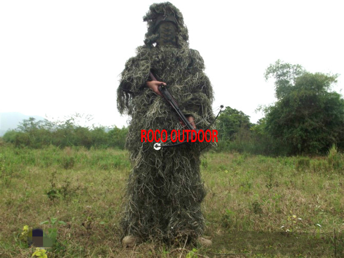 ФОТО 1.5kg Woodland Ghillie Suit Gilley Yowie suit Jungle Hunting Clothes Free Shipping