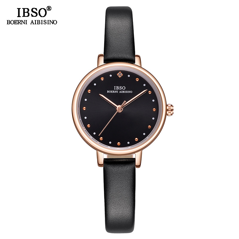 IBSO Elegant Fashion Women Watches Ladies Small Round Dial Quartz Watch Relogio Feminino 2018 New Women Leather Watches #S8689L ladies women s fashion style casual watch leather round wristwatch heart love pattern dial with pink white black yellow relogio