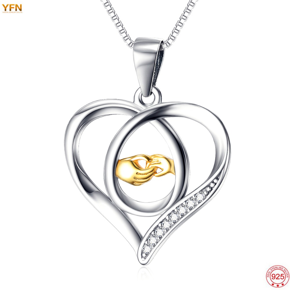 YAFEINI 2016 New Fashion 925 Sterling Silver Mother Daughter Jewelry Gifts CZ Crystal Love Heart Hand
