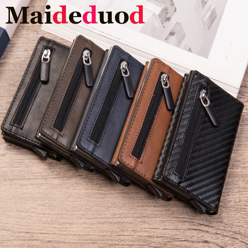 New Men Leather Metal Wallet Anti Rfid Id Card Holder Case  Male Coin Purse Women Mini Carbon Credit Card Holder With Zipper