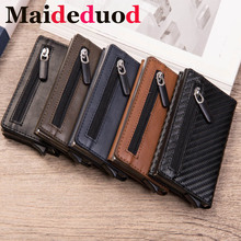 New Men Leather Metal Wallet Anti Rfid id Card Holder Case  Male Coin Purse Women Mini Carbon Credit Card Holder With Zipper brand new slim credit card holder mini wallet mens leather id case coin purse bag pouch carteira masculina gift