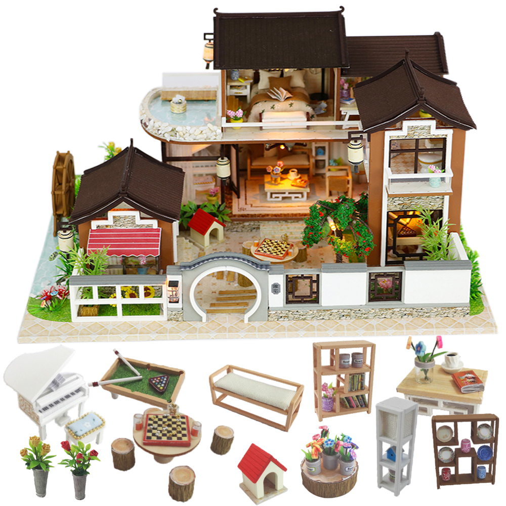 Cutebee Doll House Furniture Miniature Dollhouse DIY Miniature House Room Box Theatre Toys For Children Stickers DIY Dollhouse L